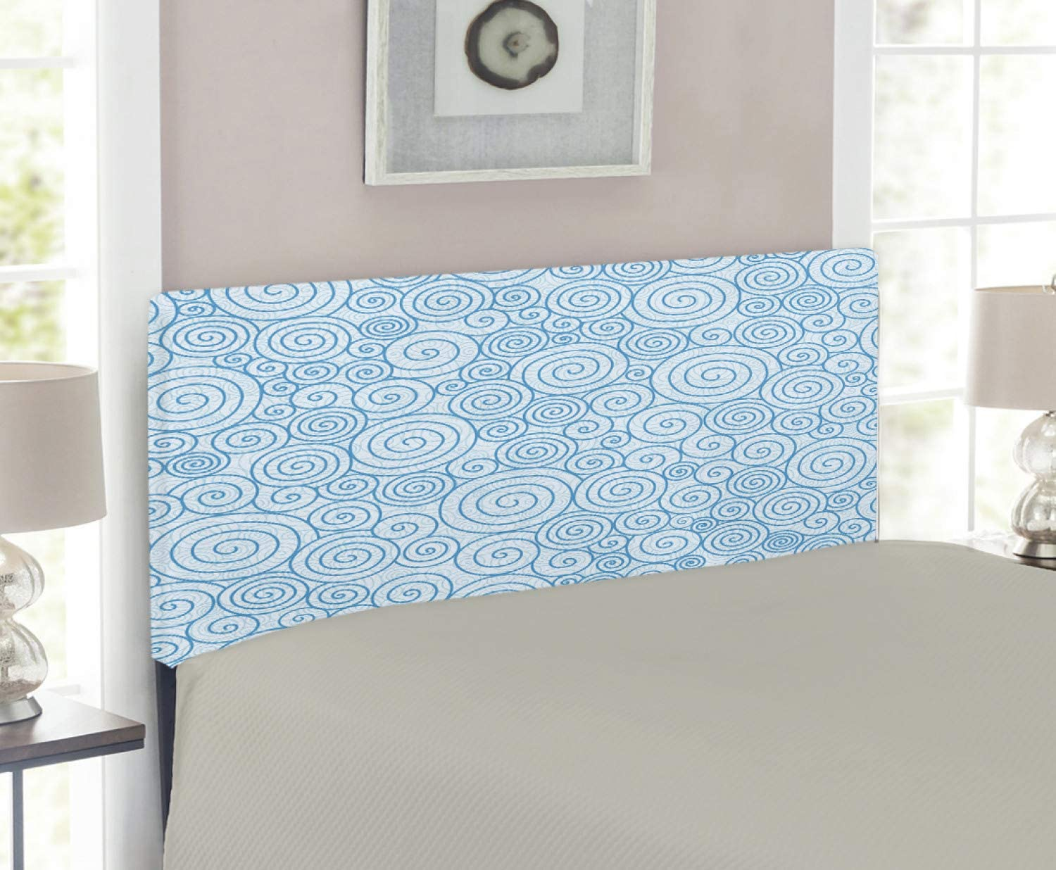 Ambesonne Blue and trust White Ranking TOP7 Headboard Ocean In Abstract Sea Swirls