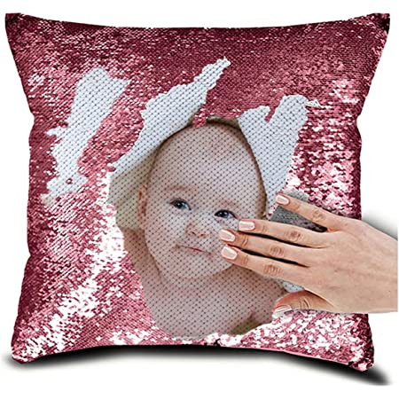 Personalised Flamingo Design Any Name Magic Reveal Gold Sequin Cushion Cover 1