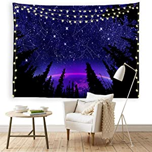 ORTIGIA Forest Starry Tapestry Wall Hanging Purple Galaxy Constellation Wall Art Tapestry Moon Fantasy Forest Landscape Tapestry for Bedroom Night Sky Home Decor Needles Included 60