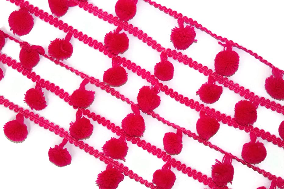 Pompom Trim Handcrafted Scarf lace Sari Border Curtain Trim lace-Distance Between Pompom 1.5 inches-Price for 01 yard-idl39