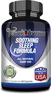 Soothing Sleep Aid, Insomnia Relief | Valerian Root, Melatonin, Magnesium, L-Theanine, Chamomile :: Aids in Healthy Nighttime Sleep No Grogginess All Natural Ingredients, Manufactured in USA, 60 Ct