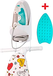 StorageMaid Steam Iron Holder – Wall Mount Bracket with Slot for T-Leg Ironing Board – Large Cord Storage Slot – Fits All Sunbeam Models and Others – Ideal Small Space Organization Solution