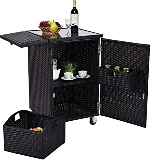 Lotus Analin Rattan Wicker Kitchen Trolley Cart Patio Roller Dining Storage Glass Stand