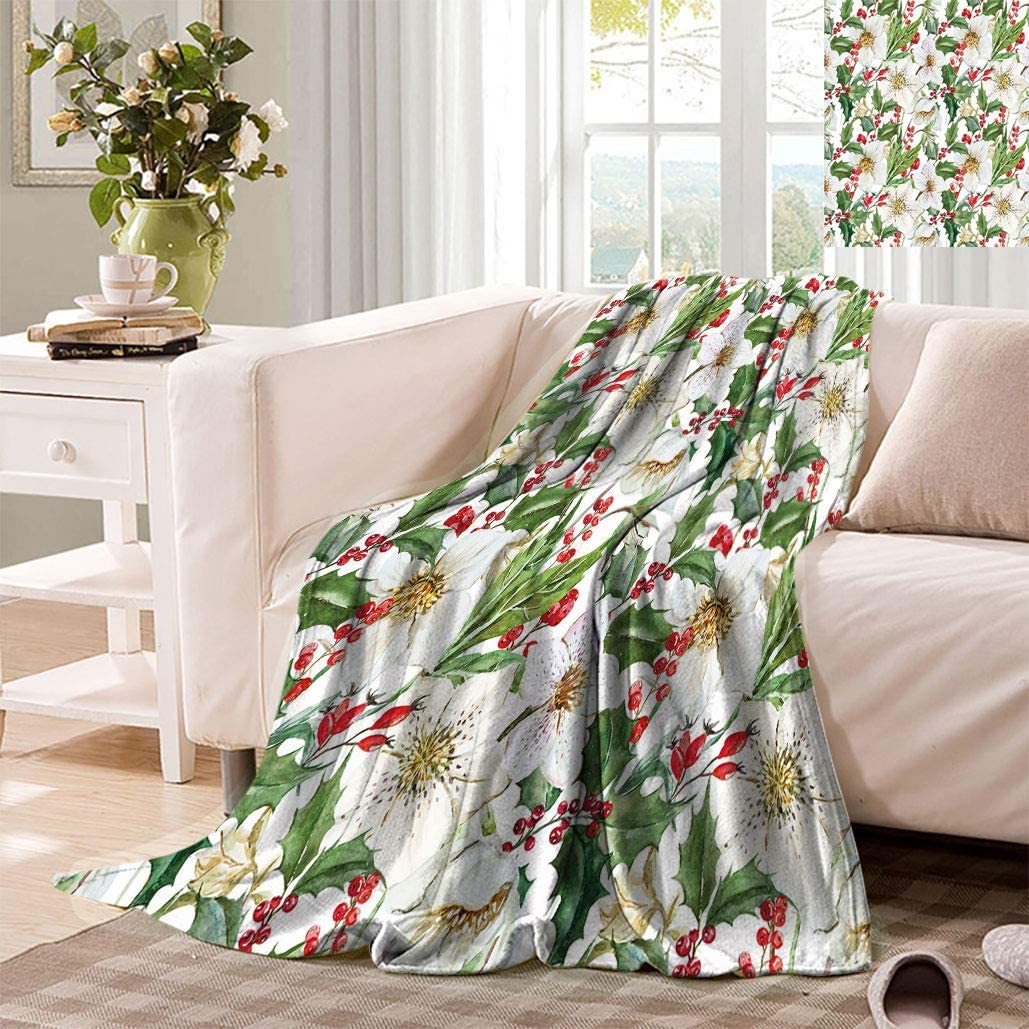 Floral Decor Extra Lager San Jose Mall Watercolor Blankets Christmas Pattern Max 72% OFF