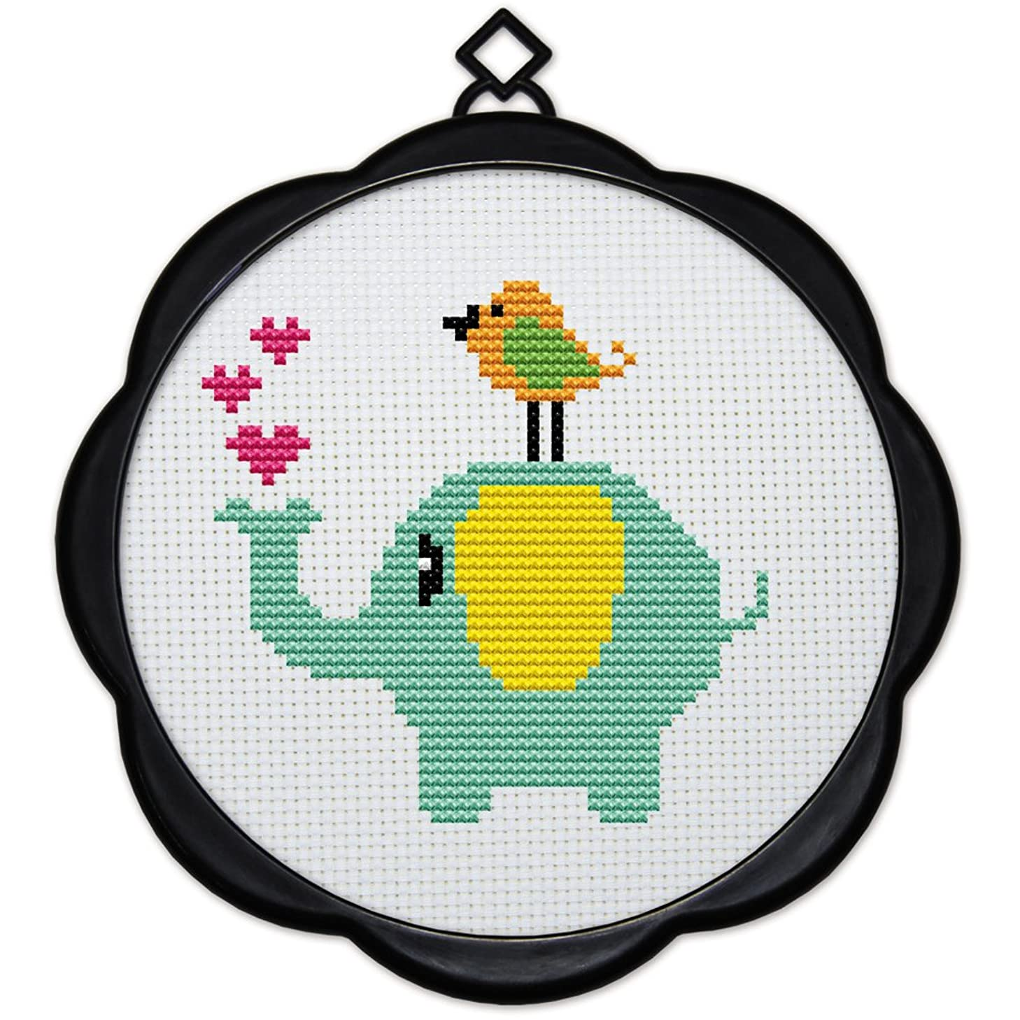 Full Range of Embroidery Starter Kits Stamped Cross Stitch Kits Beginners for DIY Embroidery (Multiple Pattern Designs) - Birds and Elephants