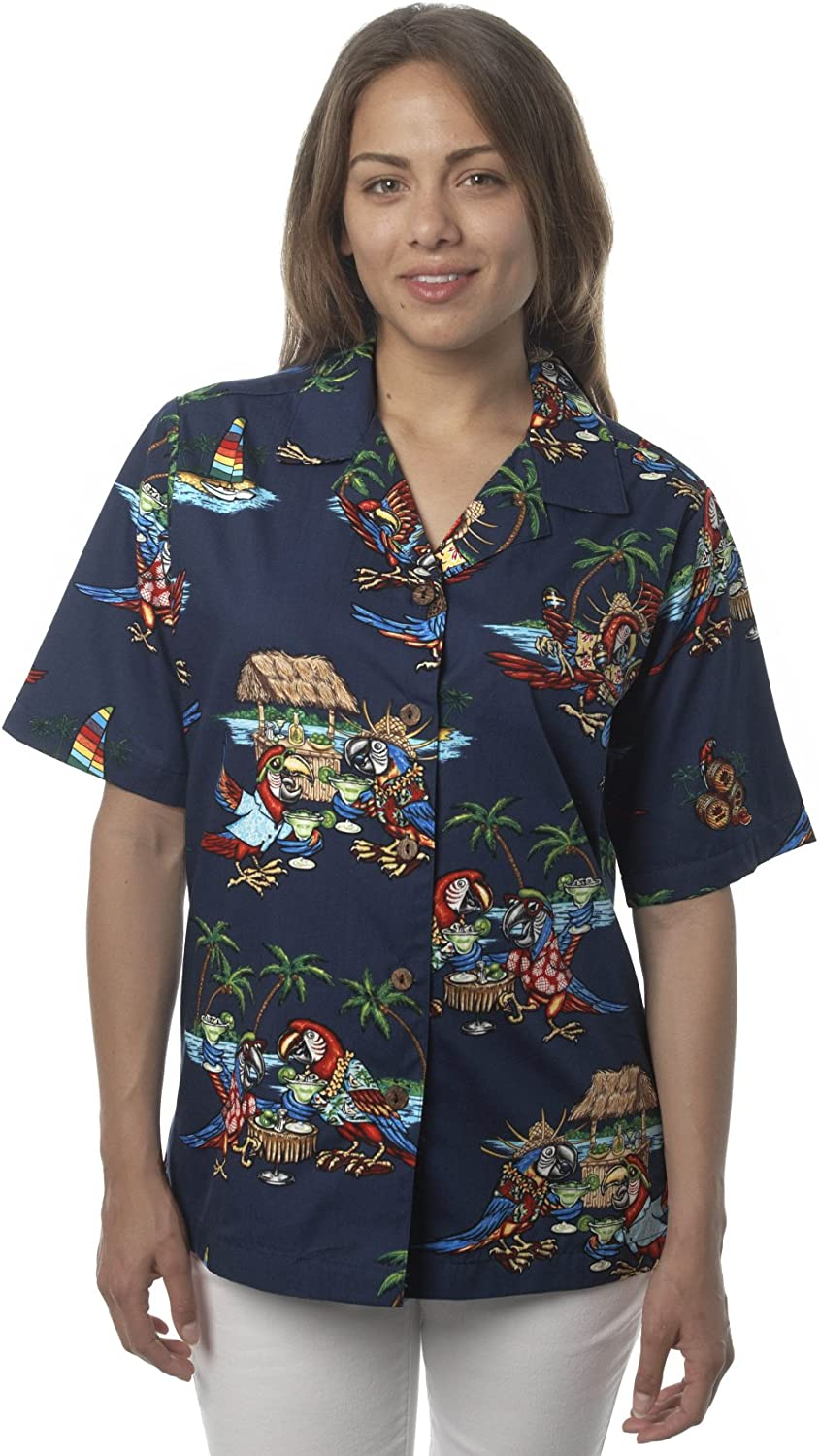 Selling rankings Benny's Womens Parrots and Margaritas Lowest price challenge Hawaiian Shirt Parrothead