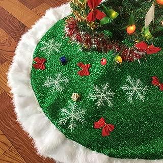 JCT Christmas Tree Skirts 49'' 2018 New Green Faux Fur Tree Skirt Xmas Tree Ornaments Plush Mercerized Velvet for Christmas Decorations (Green, 49'')