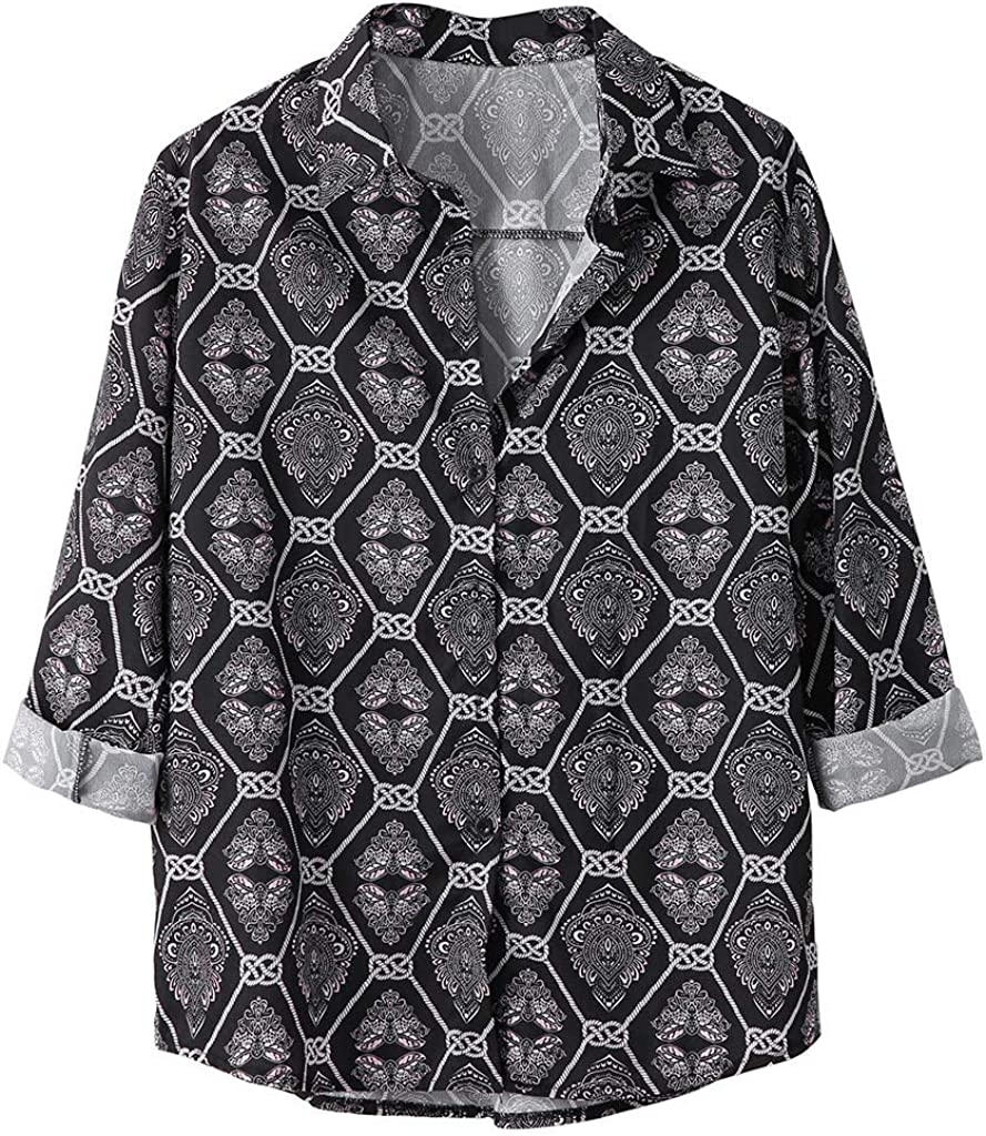 Huangse Men's Autumn Thin Long Sleeve T-Shirt Fashion Loose Fit Shirt Hawaii Floral Print Button Down Lapel Shirt