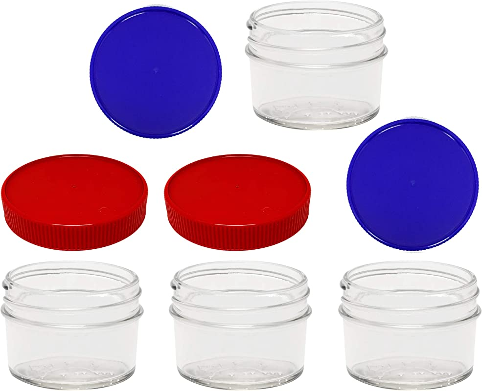 4 Ounce Mason Jars Smooth SIdes Regular Mouth With 4 Plastic BPA Free Storage Lids Made In The USA Red And Blue