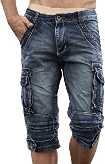 Men`s Cargo Denim Biker Jeans Shorts with Zippers