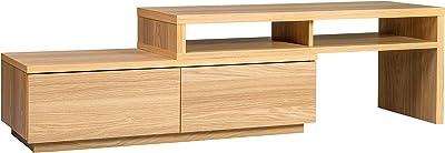 Marca Amazon - Movian Mueble de TV modular con 2 cajones SAB-100 - Roble claro, L100-185 x P38.8 x A41.1 cm