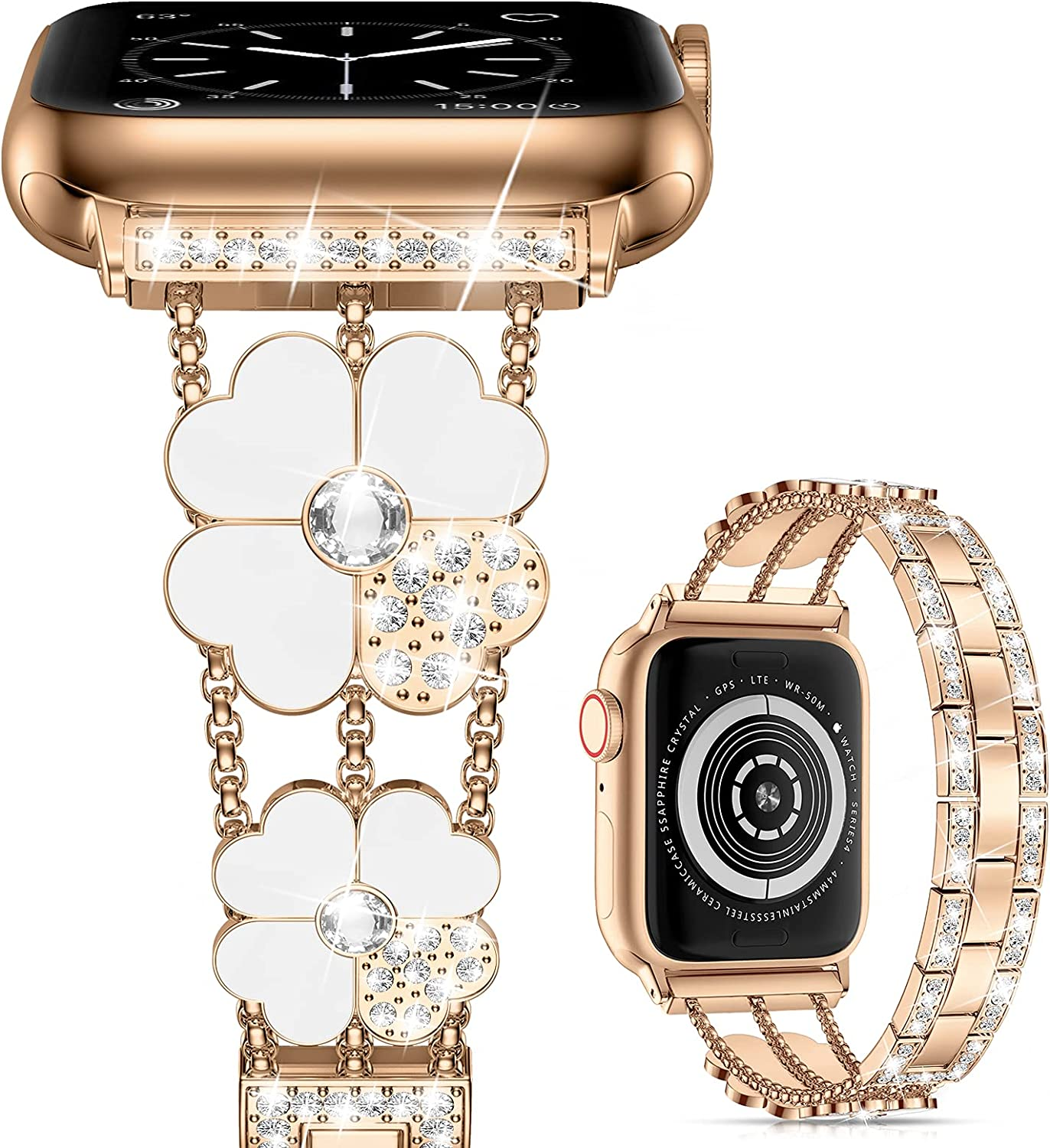 Cesicersi Compatible with Apple Watch Band 41mm 40mm 38mm 45mm 44mm 42mm Women,Luxury Bling Diamond with Clover Stainless Steel Bracelet Strap for iWatch Series 7 6 SE 5 4 3
