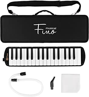 FINO 32 Key Melodica Instrument Air Piano Keyboards Pianica Wind Musical Instrument Folk World Key Instruments with Mouthpiece Tube Set Portable for Music Lover Beginners Gift with Carrying Bag Black