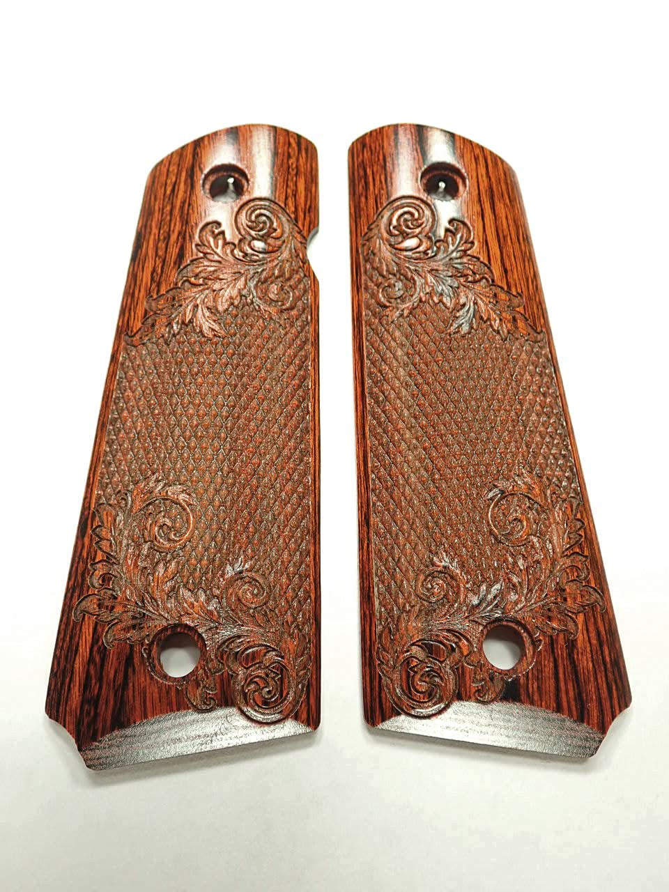 Orange Cocobolo Floral Checker Full Engraved Size gift Grips Sale Special Price 1911 Tex