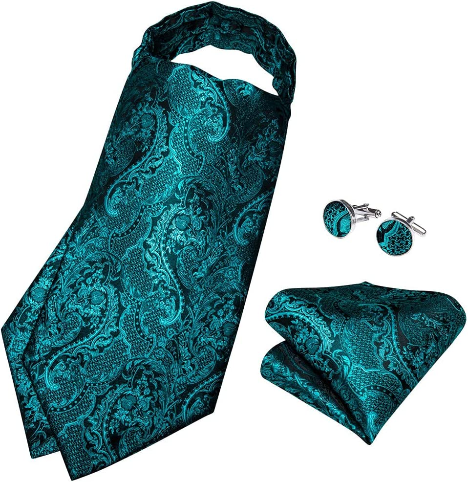 TJLSS Men's Vintage Teal Blue acquard Woven Silk Tie Cravat Scrunch British Style Gentleman Necktie (Color : Teal Blue, Size : One Size)