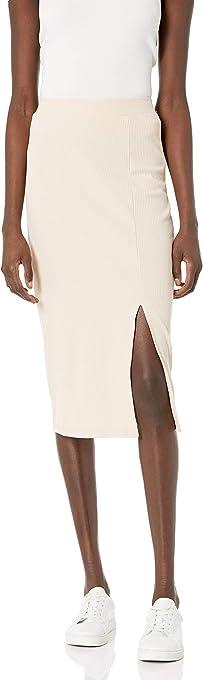 The Drop Women's Veronique High Waist Slit Skirt