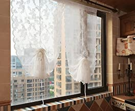 1pcs Tie-Up Lace Roman Curtain - Top Sheer Kitchen Balloon Window Curtain,26 x 71 Inch,White (26''Wx71''H)