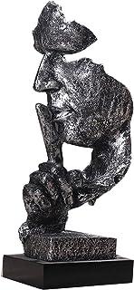 Buhui - Scultura in stile retrò, stile nordico silenzio è oro, in resina astratta sculture statuetta decorazione per la ca...