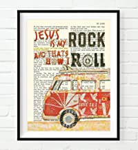 Jesus Is My Rock and That's How I Roll, Luke 24:2, Vintage Classic Antique Van Car Bible Verse Wall Art Print, Unframed, Christian Wall Decor Poster, 8x10 Inches