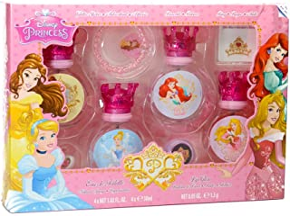 Disney 8 pieces Princess Set For Children, 4 Perfumes, 30 ml + Lip Gloss, 5 ml + Ring + Bracelet And Sticker Set