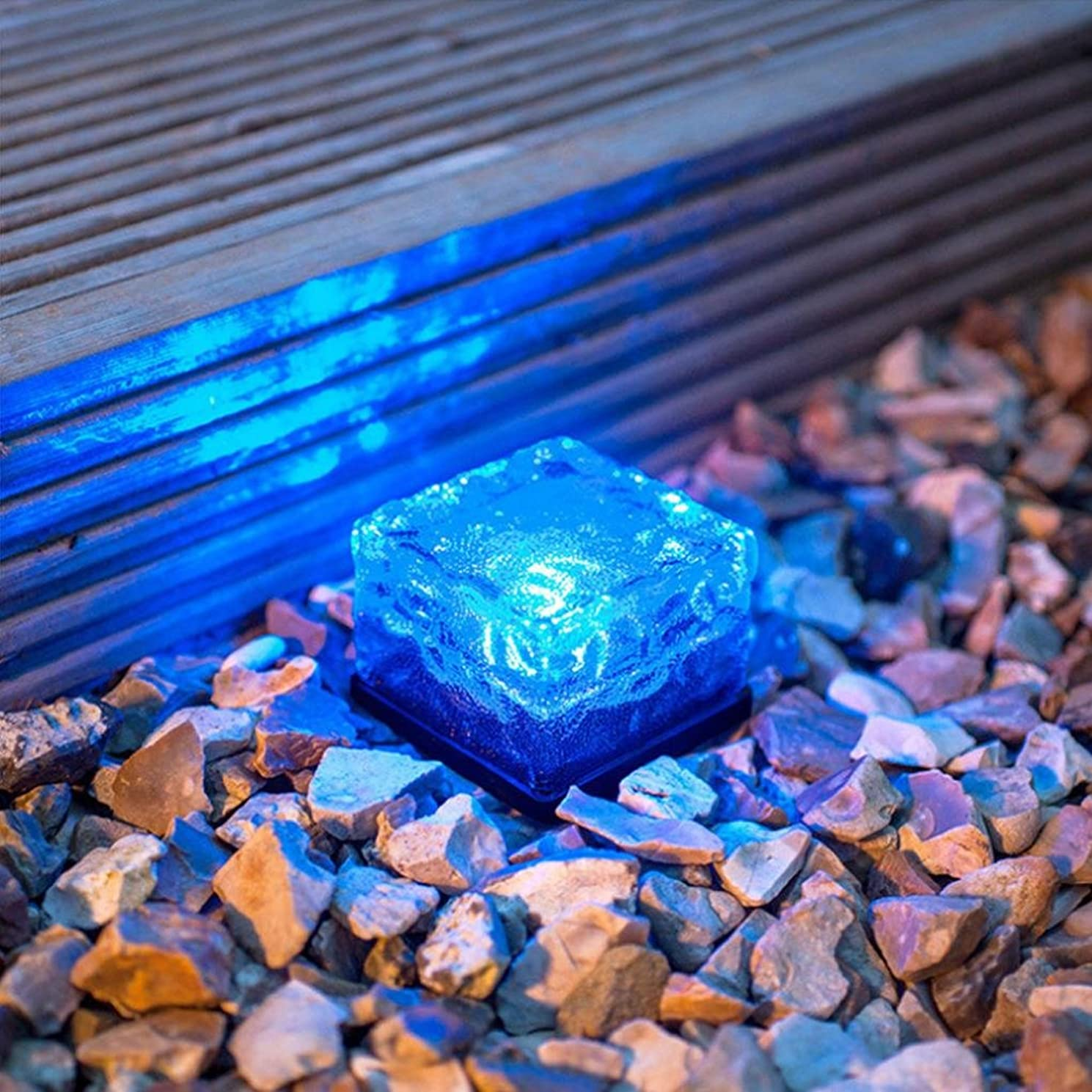 LtrottedJ Solar Power LED Color Changing Ice Cube Crystal Glass Outdoor Brick Lights ,Hot (Blue)