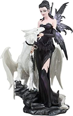 "Ebros Gothic Khaleesi Fairy with Arctic White Dragon Statue 9.5"" Tall Decorative Mythical Fantasy FAE Lady of The Frozen Lake Figurine Collectible Medieval Dungeons and Dragons Decor"