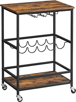 VASAGLE Bar Cart, Serving Cart with Wheels, Glass Stemware Rack and Wine Bottle Holders, 23.6 x 15.7 x 29.5 Inches, Industrial, Rustic Brown and Black ULRC087B01