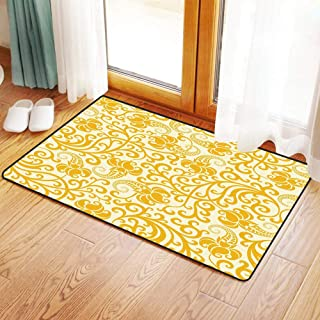 Non-Slip Mat Microfiber Bathroom Rug Shower Mat, Art Nouveau,Arabesque Rococo Style Curved Spring Blooms Branch, Ultra Soft and Water Absorbent Bath Rug,Machine Wash/Dry 16x 24 inches