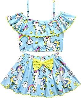 Girls Unicorn Swimming Costume Two Piece Swimwear Swimsuit Tankini Bathing Suit for Kids Girls