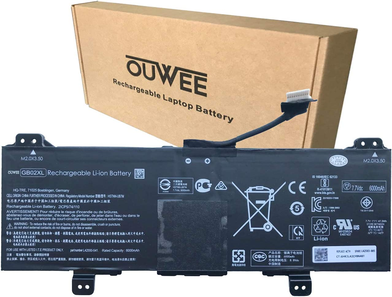 OUWEE GB02XL Laptop Battery Compatible with HP Chromebook x360 11 G2 EE Chromebook 11A G6 G8 EE Chromebook 11 G7 G8 EE Series L42550-271 L42550-541 HSTNN-UB7M HSTNN-DB7X L42583-005 7.7V 47.3Wh 6150mAh
