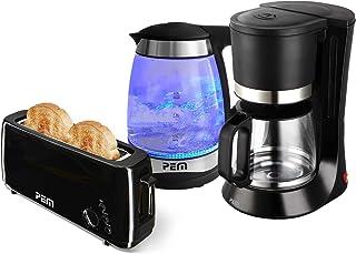 Bouilloire verre LED Bleu 2000W 1.7L + Grille pain 1 fente longue + Cafetière 680W 1.2L