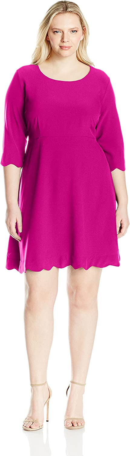 NY Collection Womens Plus Size 3 4 Sleeve Solid Fit and Flare Dress Dress