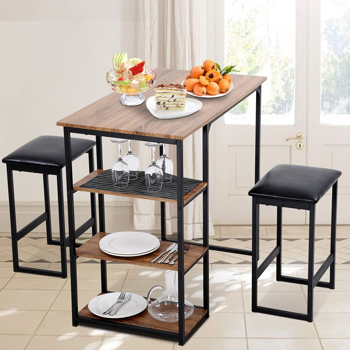 3 Piece Kitchen Dining Table, Modern Pub Bar Table and Chairs Set Breakfast Counter Height Set for Small Spaces Dinette Table with Metal Frame, 2 Chairs Stools for Dining, Home Furniture, Brown