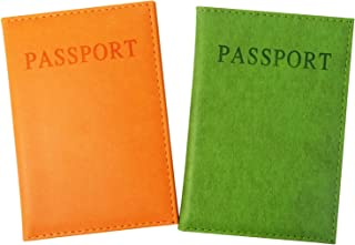 2PCS Artificial Leather Passport Holder Cover Passport Case for Men and Women