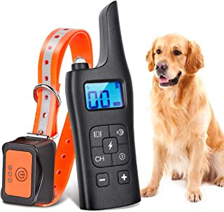 NUOSEM Dog Training Collar, Rechargeable Dog Shock Collar with Remote - Waterproof Anti Dog Barking Collar Shock/Vibration/Sound/Led Modes - E-Collar for Both Large Dogs and Small Dogs Training Set