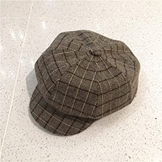 YANGBM Ladies' Autumn and Winter Octagonal Hat, Windproof and Dustproof Plaid Beret, Suitable for Any Outdoor and Indoor Activities (Color : E)
