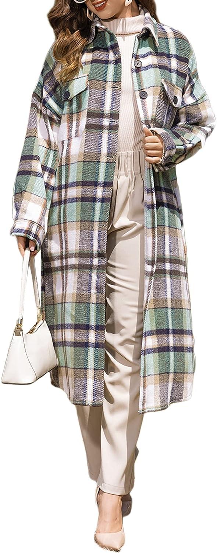 Plaid Cardigan for Women Button Down Long Slit Plaid Shirt Coat