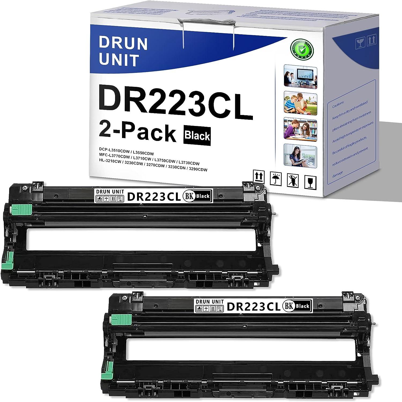 [2 Pack,Black] DR223CL DR-223CL Compatible Drum Unit ReplacementforBrother HL-3210CW 3230CDW 3270CDW 3230CDN 3290CDW MFC-L3770CDW L3710CW L3750CDW L3730CDW DCP-L3510CDW L3550CDW Printer Drum Unit