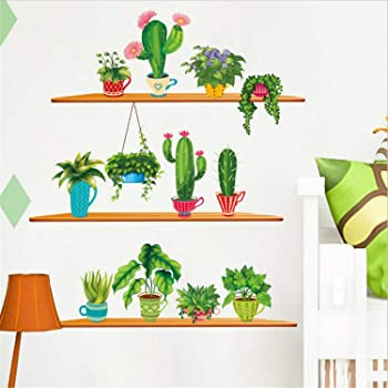 AWAKINK Cartoon Cactus Pot Green Plants Leaves Butterflies Pastoral Style Wall Stickers Wall Decal Vinyl Removable Art Wall Decals for Bedroom Living Room Nursery Room Childrens Bedroom AK0201134