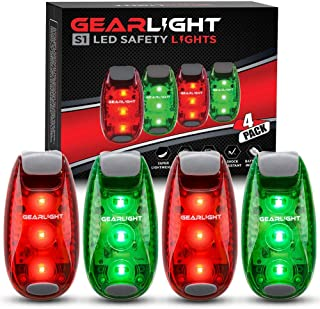 GearLight S1 LED Safety Lights [4 Pack] for Boat, Bike, Dog Collar, Stroller, Runners and Night Running - Clip On, Strobe, Warning, Flashing, Blinking, Reflective Light Accessories