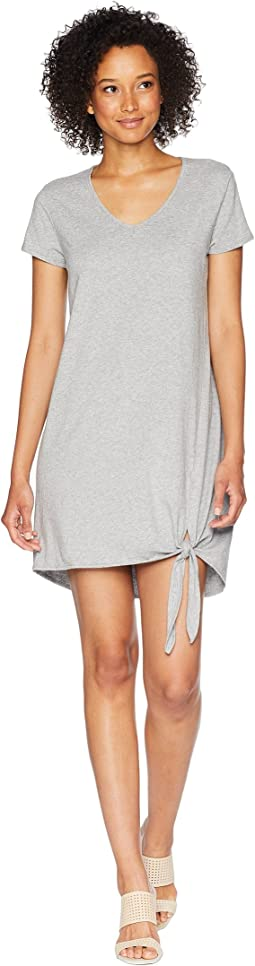 Cotton Modal Spandex Jersey Easy T-Shirt Dress with Tie Hem