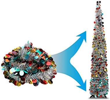 Joy-Leo 5 Feet Silver Multicolor Sequin Pop Up Tinsel Christmas Tree, Easy to Assemble and Store, for Small Spaces Apartment