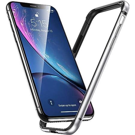 Smoony iPhone 11 / iPhone XR ケース アルミバンパー レンズ保護 耐衝撃 ストラップホール付き [アルミ+シリコン 二重構造] 6.1インチ 軽量 一体感 アイフォン11/イフォンXR專用スマホケースバンパー (iPhone 11 / iPhone XR, シルバー)