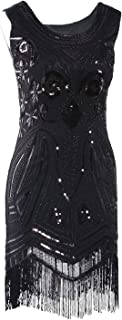 Women's 1920's Vintage Gatsby Bead Sequin Art Nouveau Deco Flapper Dress