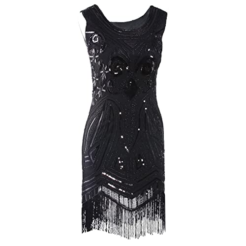 2d4ea85705 Vijiv Women s 1920 s Vintage Gatsby Bead Sequin Art Nouveau Deco Flapper  Dress