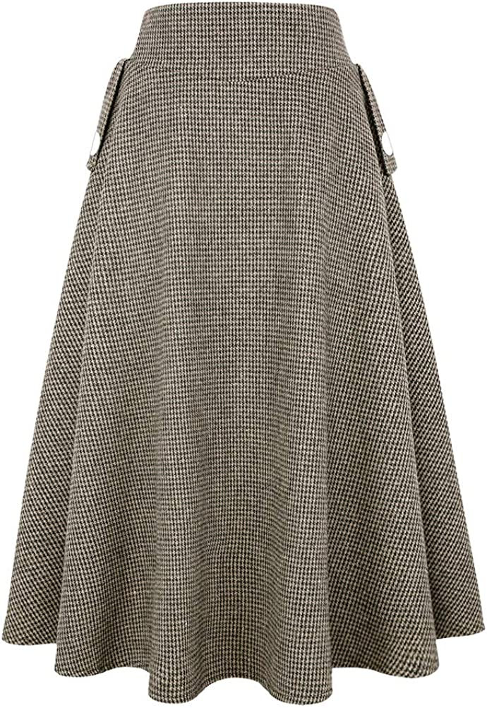 Victorian Skirts | Bustle, Walking, Edwardian Skirts IDEALSANXUN Women's Fall/Winter High Waist Plaid Slim A-line Long Skirt  AT vintagedancer.com
