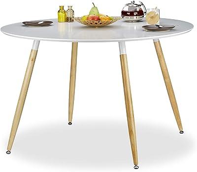 Relaxdays Table à manger ronde ARVID style scandinave 6 - 8 personnes HxD: 75 x 120 cm en bois, blanc