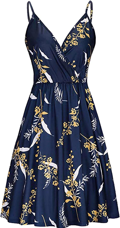 Off The Shoulder Dress for Women Summer Casual V Neck Slim Ruffle Floral Dress Beach Dress Mini Dress