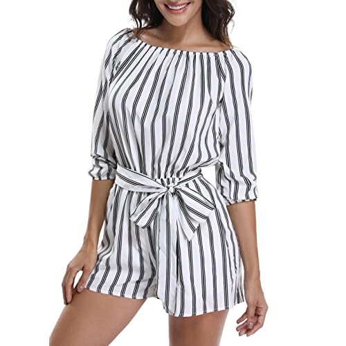 f3b5f87b990 MISS MOLY Rompers for Women Long Sleeves Boat Neck Off The Shoulder  Strapless Mid Rise Casual