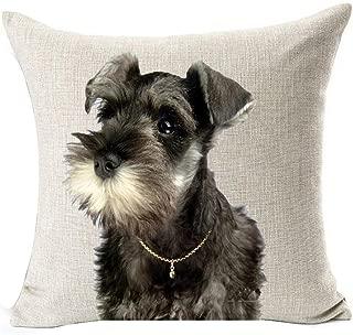 Painting Cute Lovely Animals Pet Dog Big Eyes Black Schnauzer Cotton Linen Square Throw Waist Pillow Case Decorative Cushion Cover Pillowcase Sofa 18